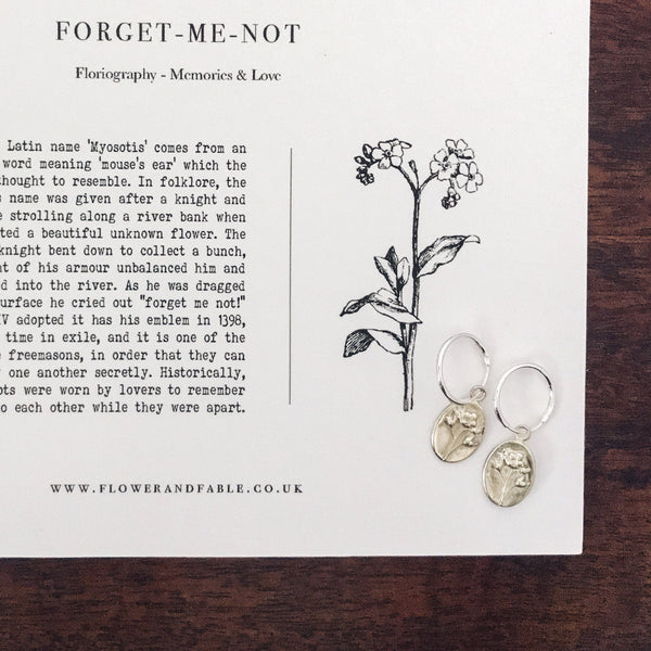 Forget me not Charm - Sterling Silver - For Memories & Love