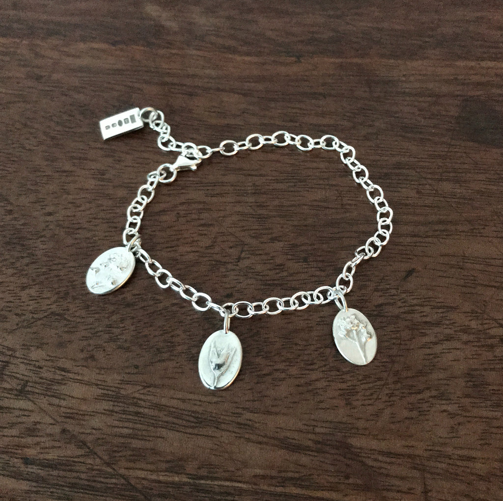 Sterling Silver Charm Bracelet - Flower & Fable