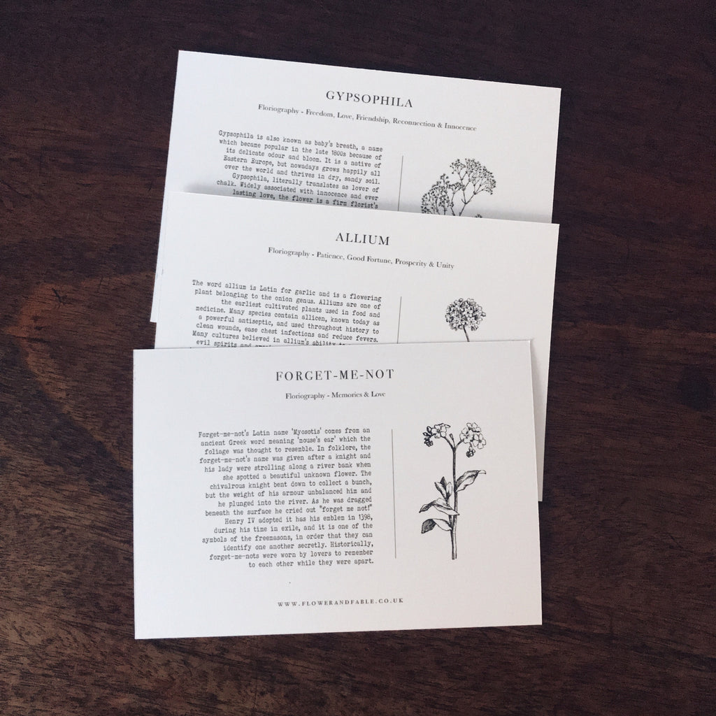 Language of flowers postcards
