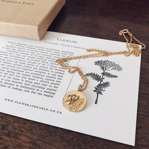 Gold Plated Yarrow Charm Necklace
