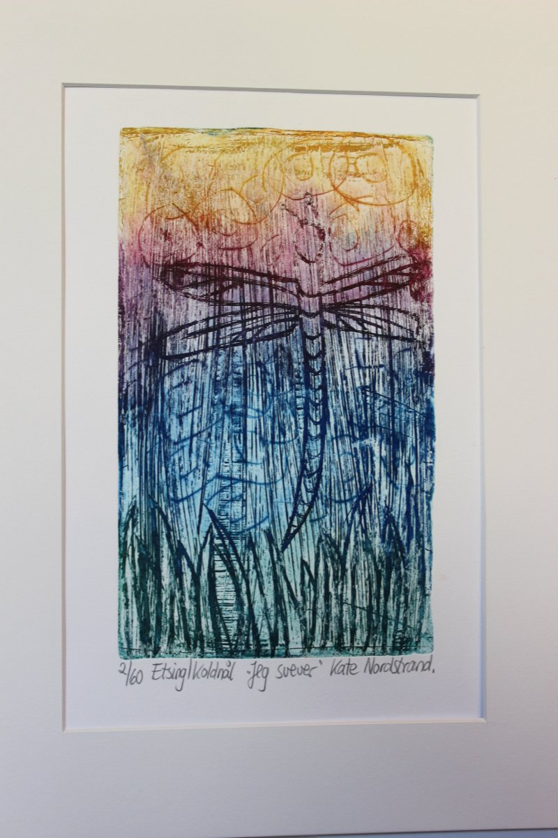 "Etching  ""Jeg svever""  Colorful"