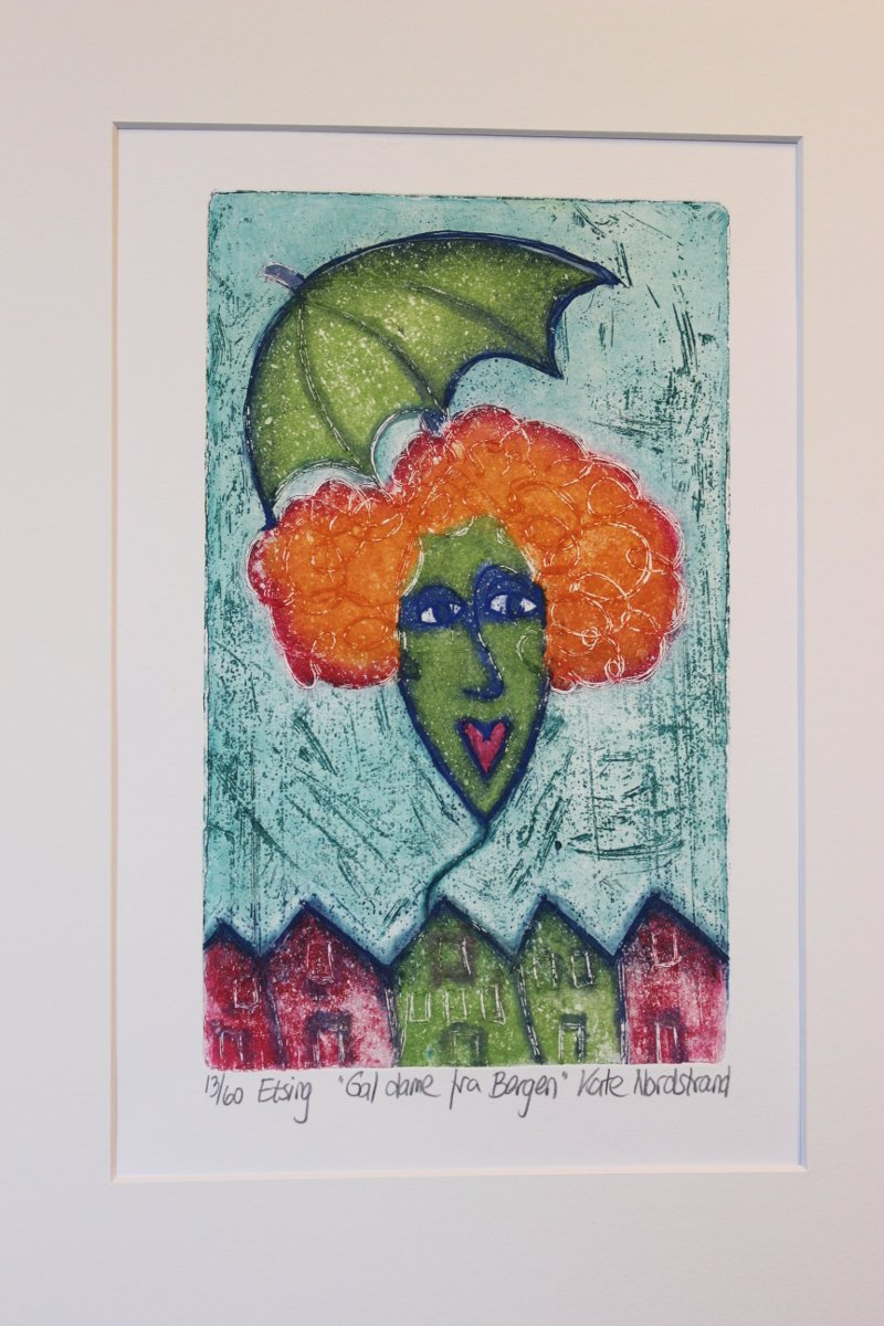 "Etching  ""Gal dame fra Bergen""  Turquoise background"