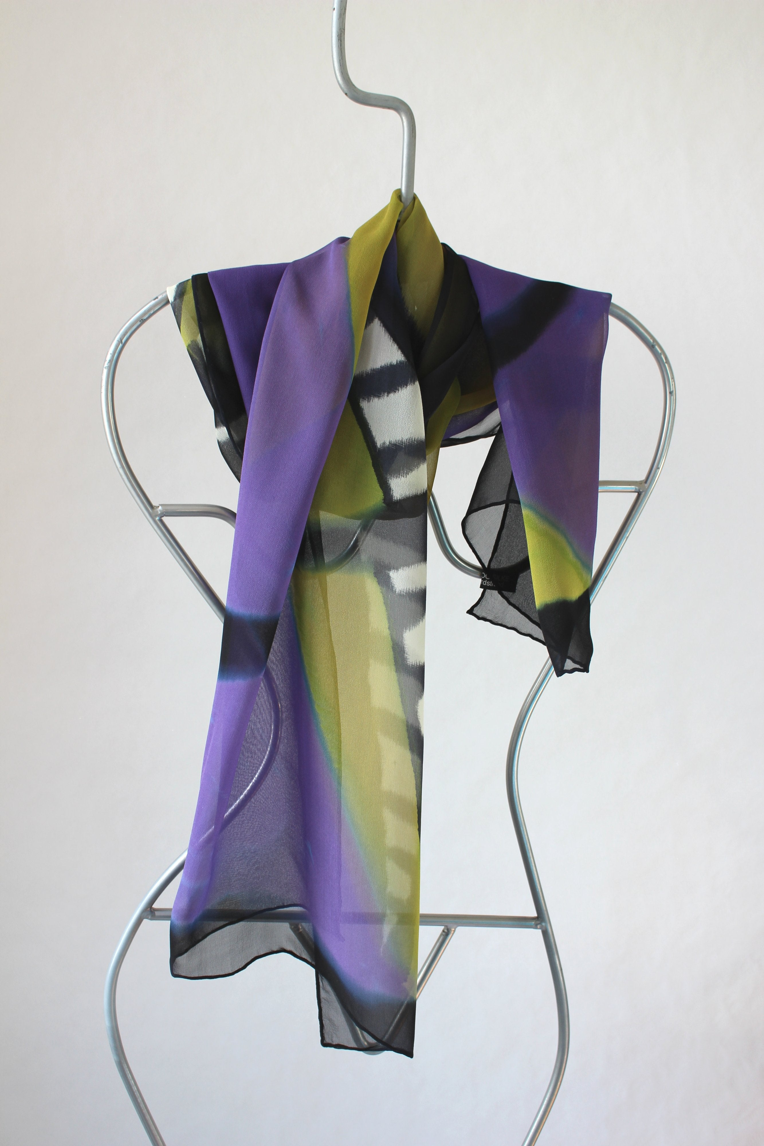 Hand painted silk scarf   Mysterious lady