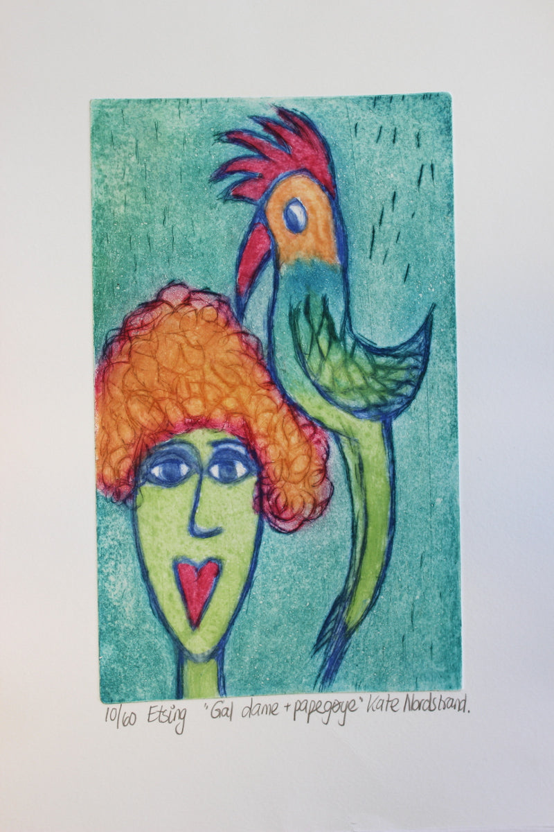 "Etching ""Crazy Lady + Parrot"" 1"