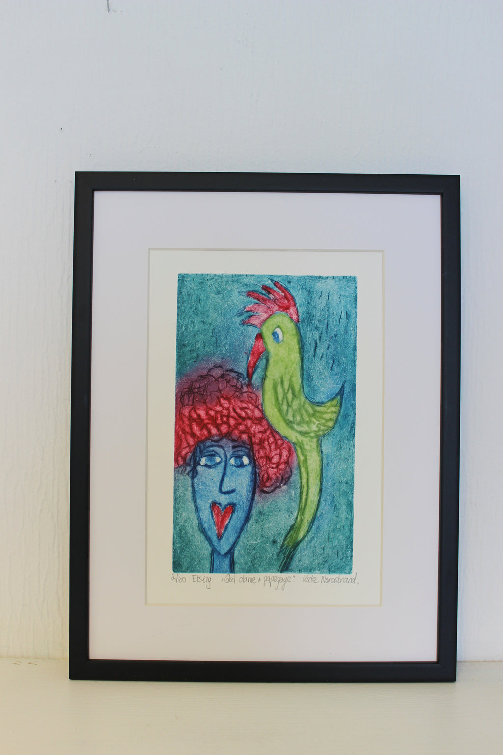 "Etching ""Crazy Lady + Parrot"" 2"