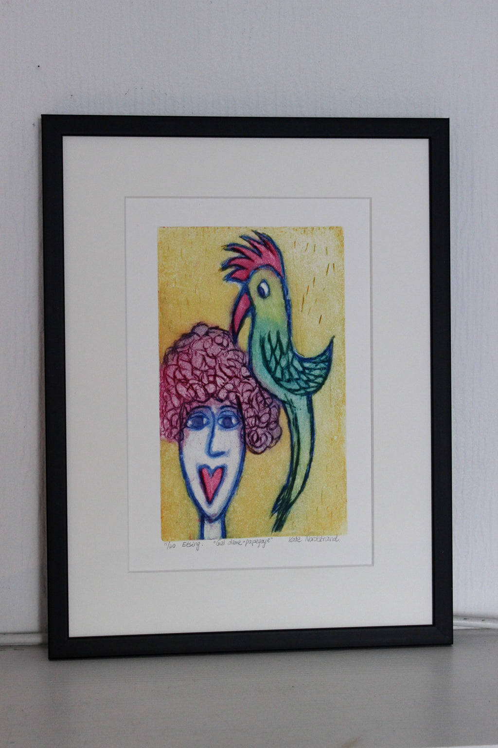 "Etching ""Crazy Lady + Parrot"" 3"