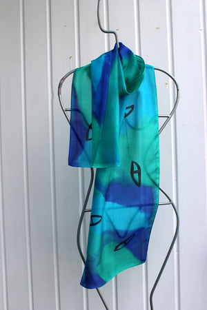 Hand painted silk scarf  2469