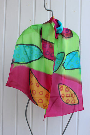 Hand painted silk scarf 2537