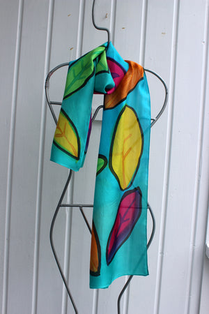 Hand painted silk scarf 2565