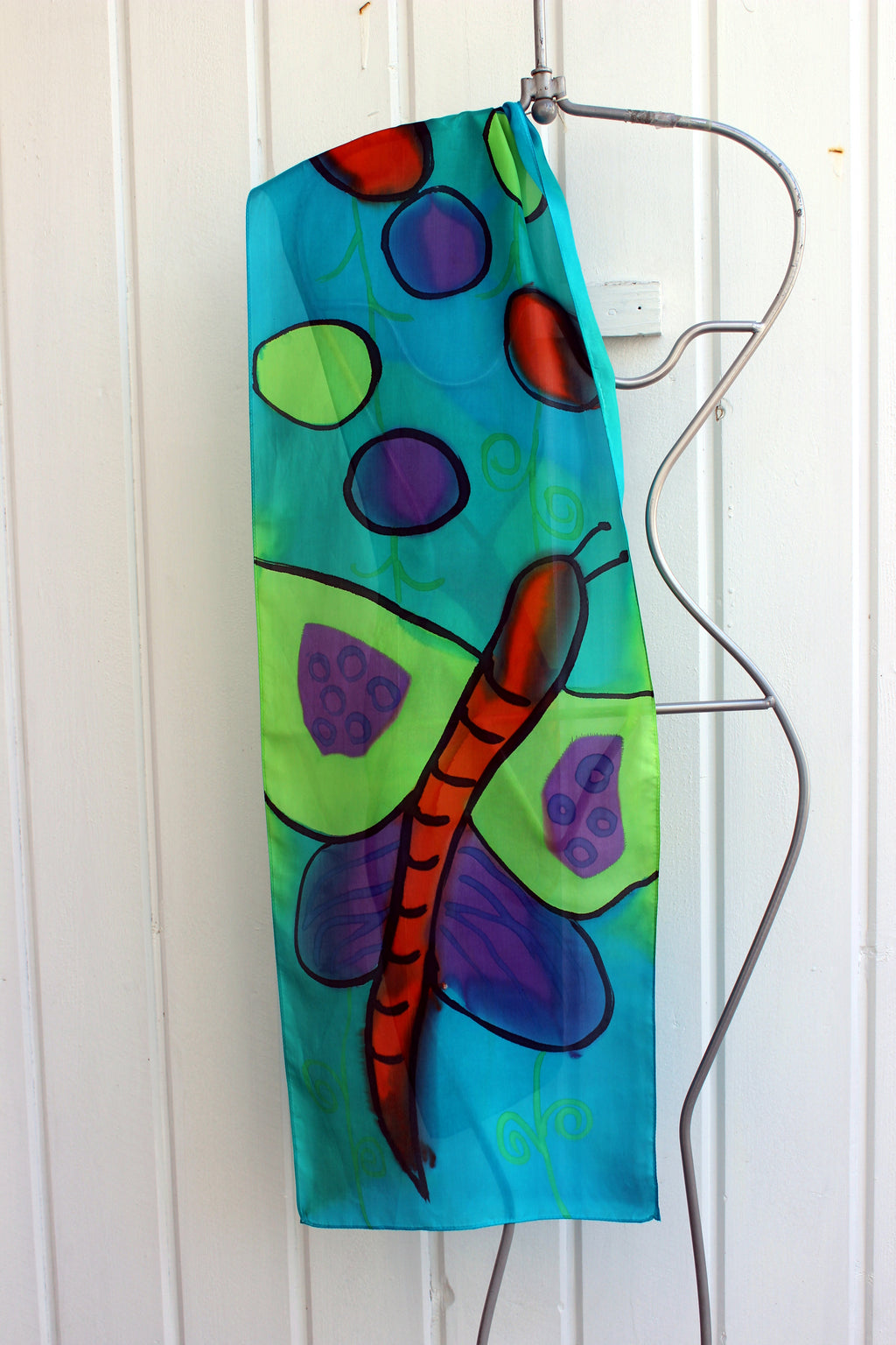 Hand painted silk scarf  2966