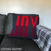 Christmas joy crochet pillow