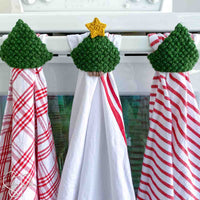 3 crochet christmas tree towel toppers hanging