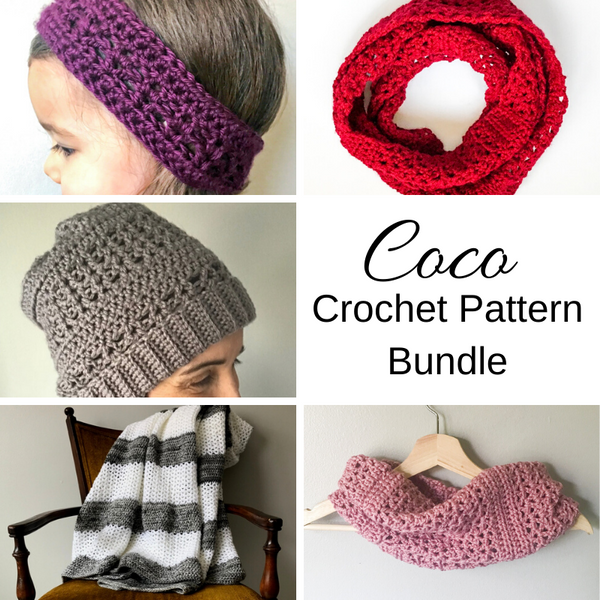 collage image for coco crochet pattern bundle