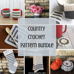 collage image of farmhouse crochet items