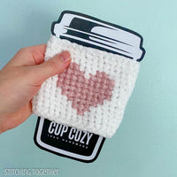heart crochet coffee sleeve