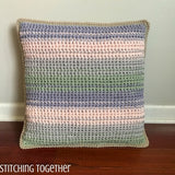 striped crochet pillow