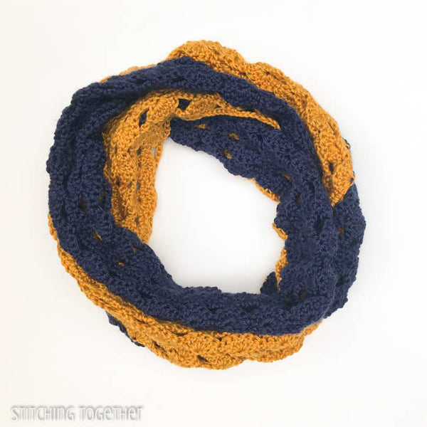 blue and gold crochet infinity scarf