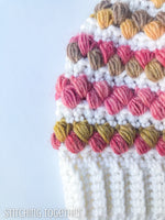 colorful crochet puff stitches close up