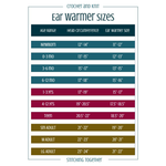 Printable and colorful ear warmer size chart