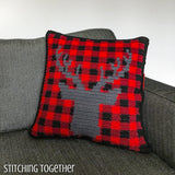 buffalo plaid and stag pillow cover