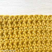 close up of extended single crochet stitches