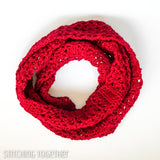 red crochet scarf