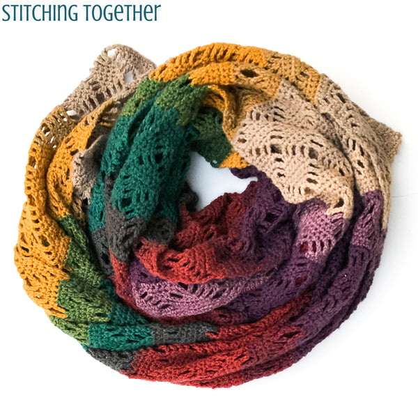 beautiful multicolored crochet scarf in a circle