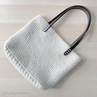 crochet shoulder bag with faux leather straps