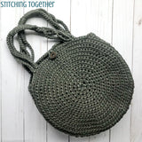 crochet circle bag laying flat