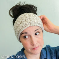 lady wearing a neutral colored crochet headband