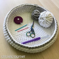 crochet tools and yarn in a bowl