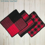 buffalo plaid dishcloths laying flat