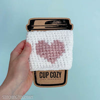 heart crochet coffee sleeve on cup cozy template