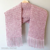 crochet scarf with fringe hanging