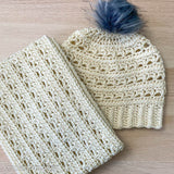 crochet beanie and cowl matching set