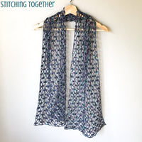crochet lacy scarf on hanger