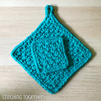 teal crochet potholder with a smaller crochet square