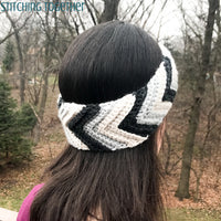 woman wearing chevron crochet headband