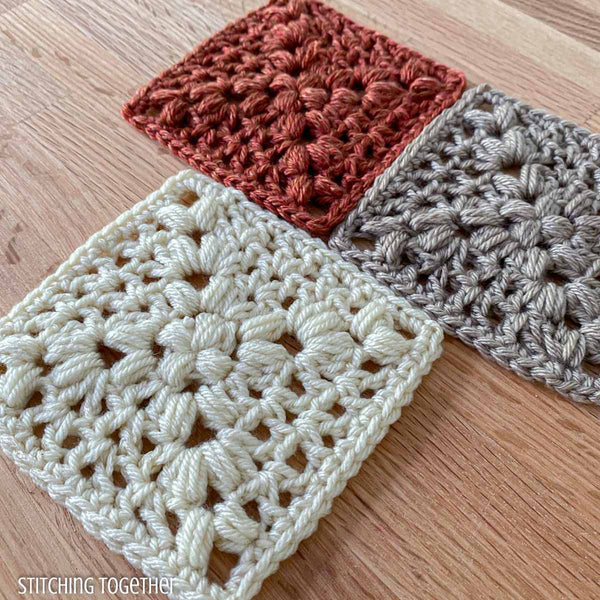 3 crochet granny squares with open stitches
