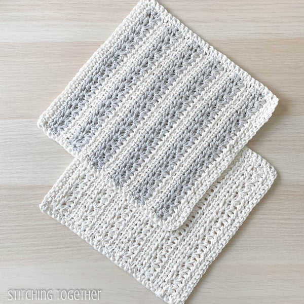 two crochet dishcloths laying flat