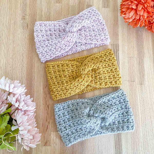 3 crochet headbands with twists
