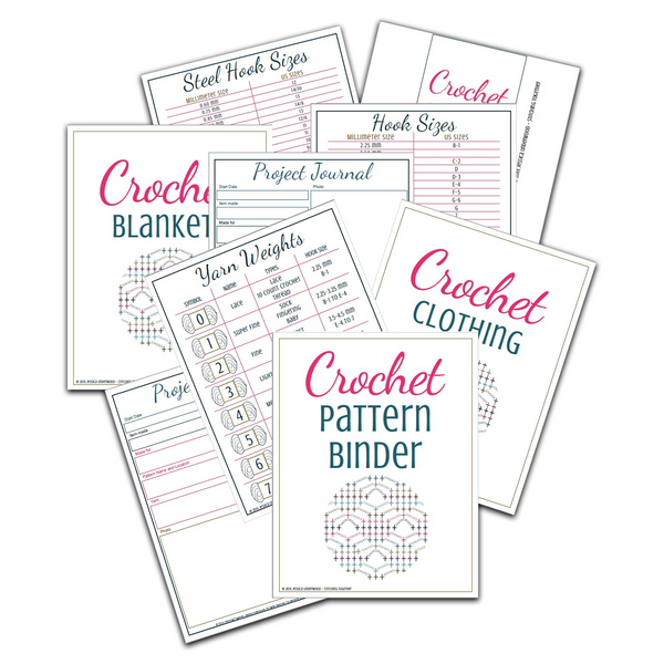 pages of the crochet pattern binder sprawled out