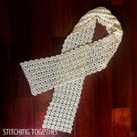 lacy crochet scarf displayed