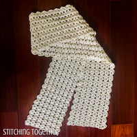 crochet shell stitch scarf partially folded