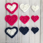 crochet hearts of different colors and sizes
