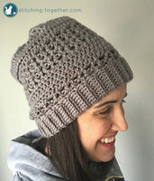 gray crochet slouchy hat
