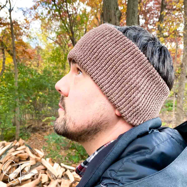 crochet ear warmer worn by a man