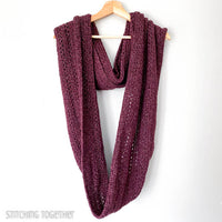purple long infinity scarf crochet hanging