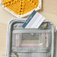 small crochet hook chart in storage bag