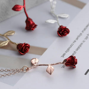 ROSE FLOWER PENDANT NECKLACE